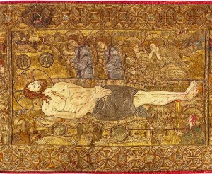 liturgical cloth the thessaloniki epitaphios detail about a d 1300 thessaloniki greece silk gold silver and linen courtesy of the museum of byzantine culture thessaloniki